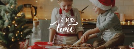 Kids baking Cookies for Christmas Facebook cover – шаблон для дизайну