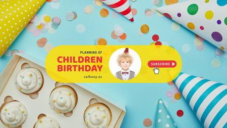 Kids Birthday Planning with Cupcakes and Confetti Youtube Design Template