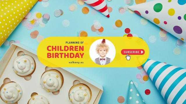 Kids Birthday Planning with Cupcakes and Confetti Youtubeデザインテンプレート
