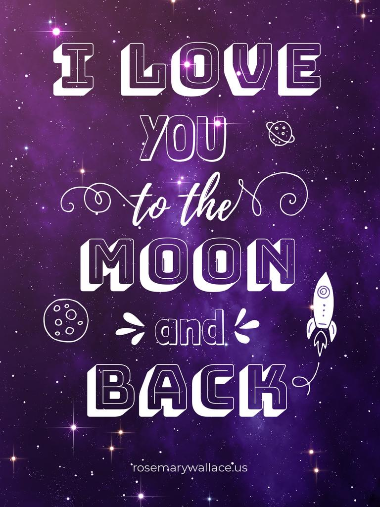 Motivational Love Quote on Night Sky Poster US – шаблон для дизайна