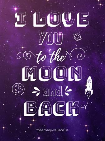 Motivational Love Quote on Night Sky Poster US Modelo de Design