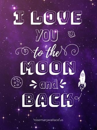 Ontwerpsjabloon van Poster US van Motivational Love Quote on Night Sky