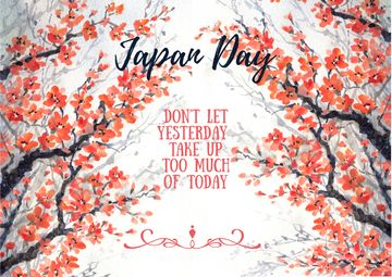 Japan day invitation with cherry blossom