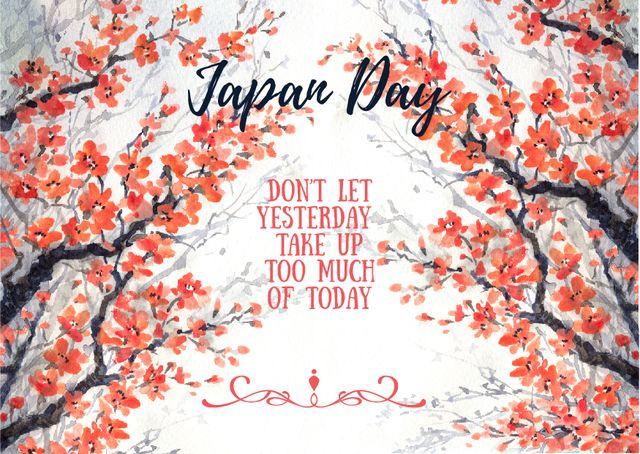 Designvorlage Japan day invitation with cherry blossom für Card