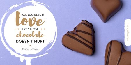 Template di design Valentine's Day with Heart-Shaped Chocolate Candy Twitter