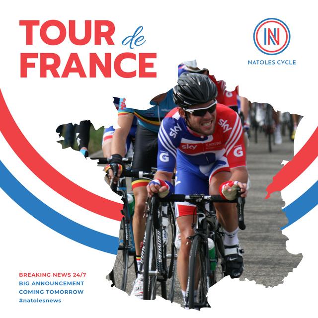 Modèle de visuel Tour de France Cyclists on road - Instagram AD