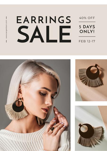 Jewelry Offer with Woman in Stylish Earrings Poster Modelo de Design