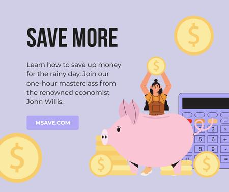Ontwerpsjabloon van Facebook van Money Saving tips with Piggy Bank