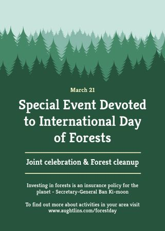 International Day of Forests Event Announcement in Green Invitation Tasarım Şablonu