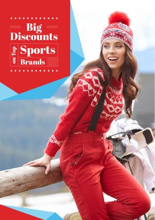 Plantilla de diseño de Big discounts on Sport Brands Poster