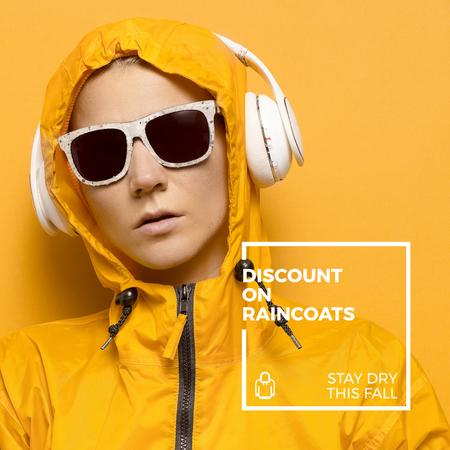 Plantilla de diseño de Raincoat Store Ad with Woman in headphones Instagram AD