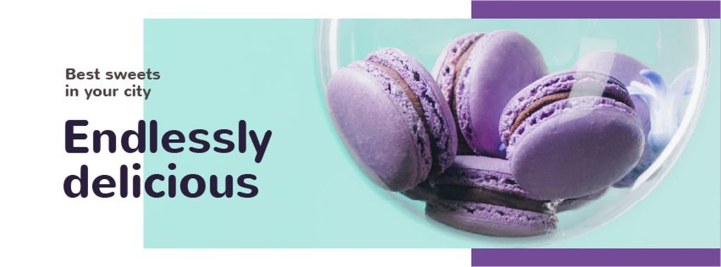 Bakery Ad Colorful Macarons in Purple — Crear un diseño