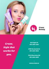 Hair Color Cream Offer Girl with Pink Hair