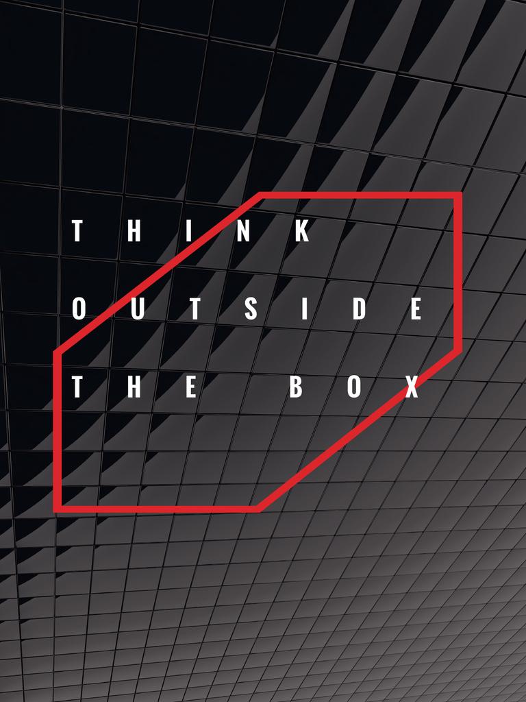 Think outside the box Quote on black tiles — Crea un design