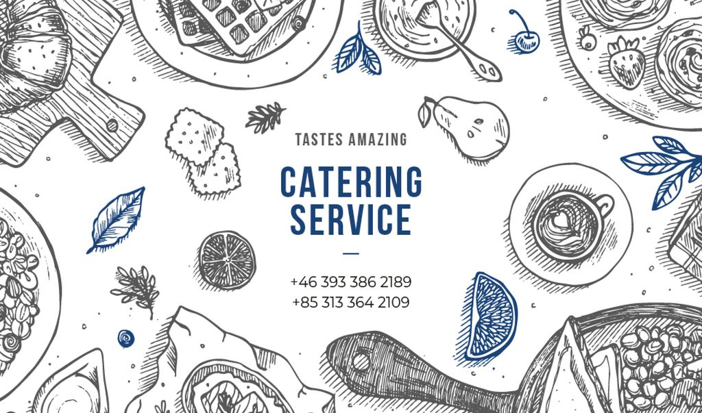 Catering Service Assorted Food on Table | Business Card Template — Створити дизайн