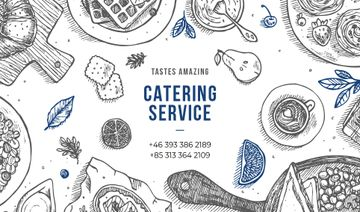 Catering Service Assorted Food on Table | Business Card Template