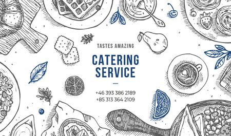 Catering Service Assorted Food on Table Business card Design Template