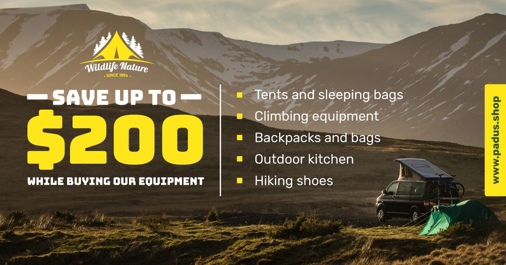 Camping Equipment Offer Travel Trailer in Mountains Facebook AD Modelo de Design