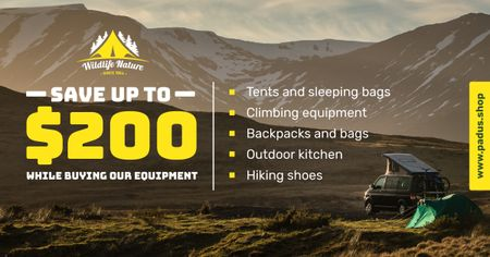 Modèle de visuel Camping Equipment Offer Travel Trailer in Mountains - Facebook AD