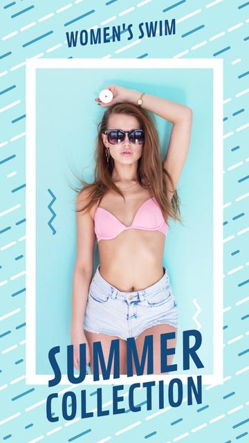 Plantilla de diseño de Summer Offer Young Girl in Bikini Instagram Video Story