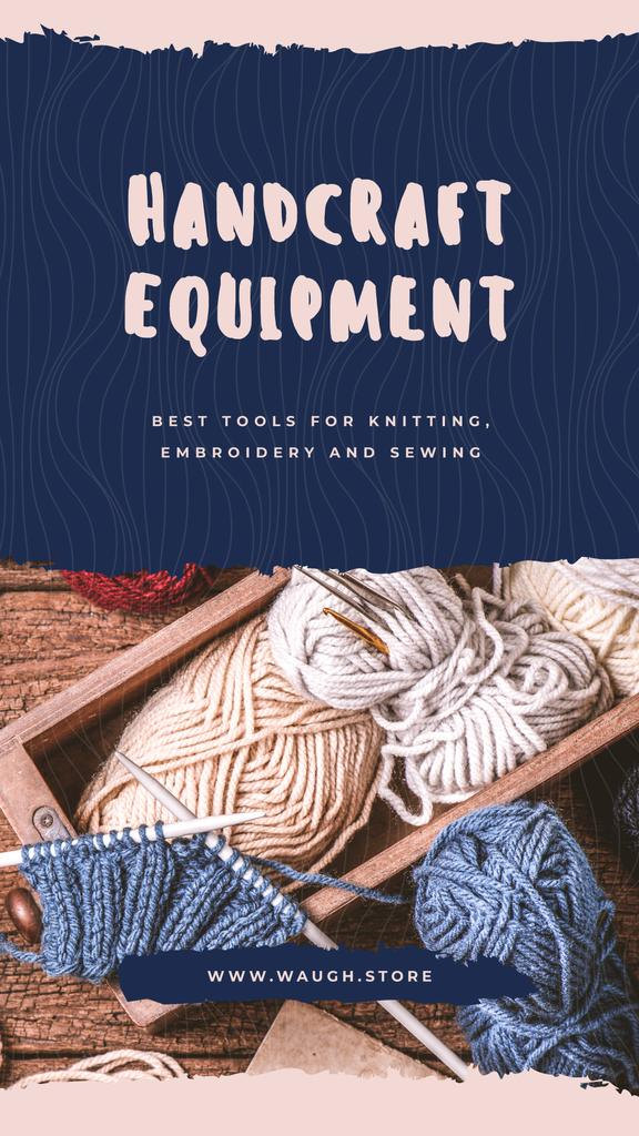Handcraft equipment Store with Wool yarn skeins — Maak een ontwerp