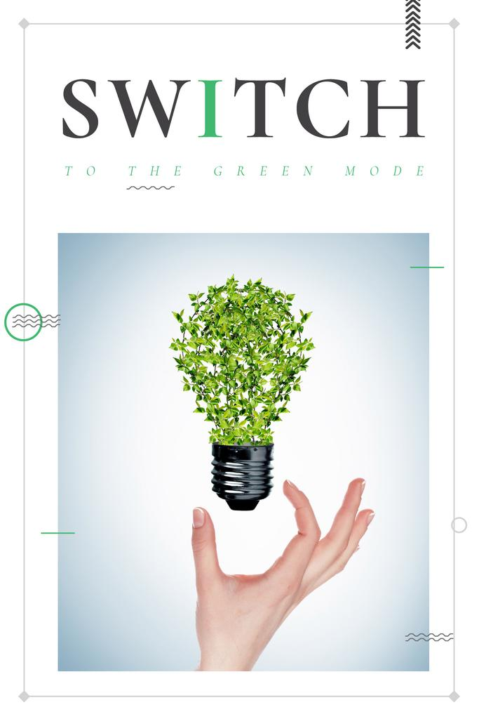 Eco Technologies Concept Light Bulb with Leaves | Pinterest Template — Создать дизайн