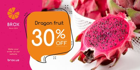 Exotic Fruits Offer Red Dragon Fruit Image Design Template