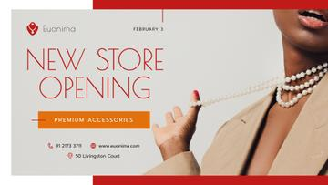 Store Opening announcement Woman in Suit