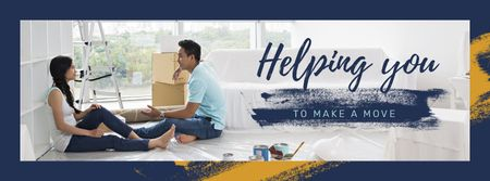 Couple renovating their home Facebook cover Modelo de Design