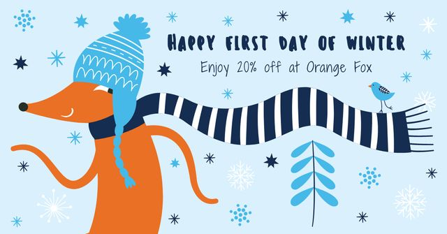 Happy first day of Winter illustration Facebook AD Design Template