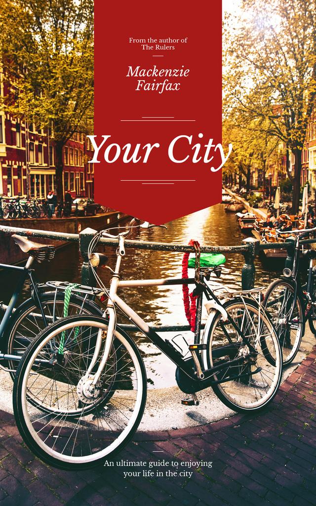 Modèle de visuel City Guide Bikes in Row on Street - Book Cover
