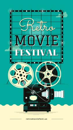 Movie Festival Ad Vintage Film Projector Instagram Story Design Template
