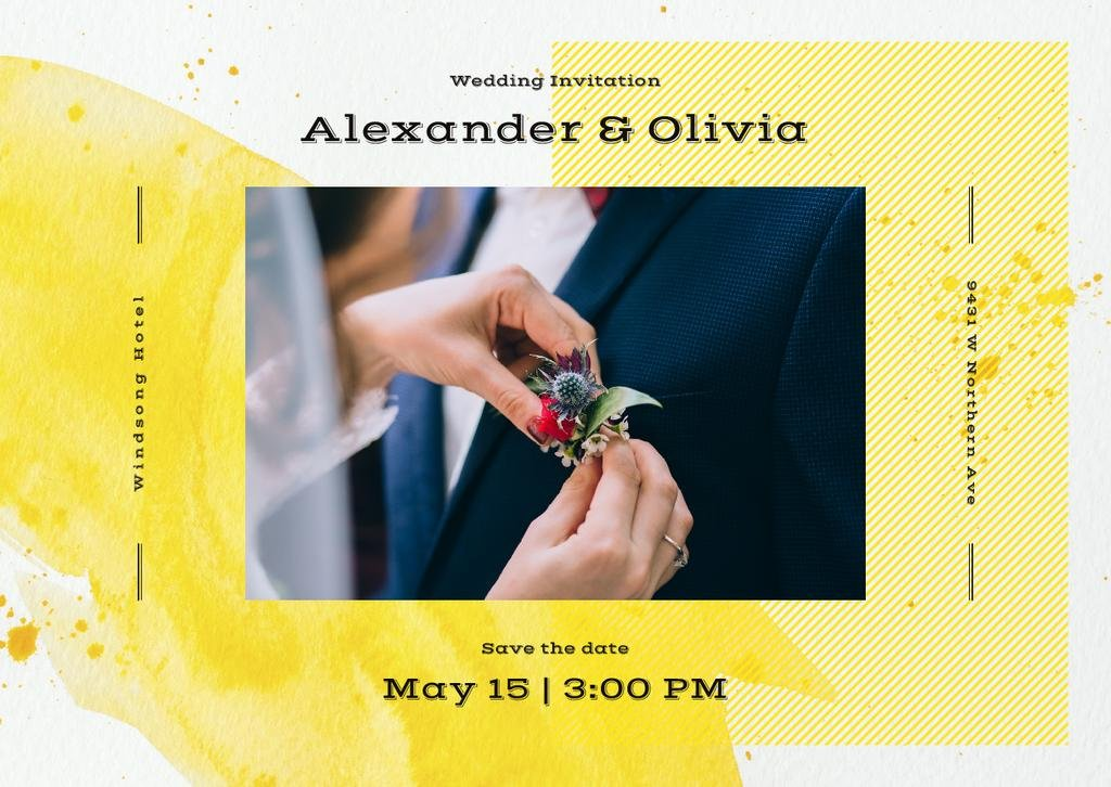 Wedding Invitation Bride Decorating Groom's Suit | Card Template — Создать дизайн