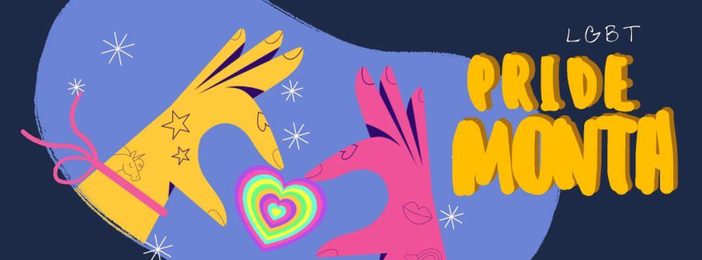 Pride Month Hands holding Rainbow Heart — Створити дизайн