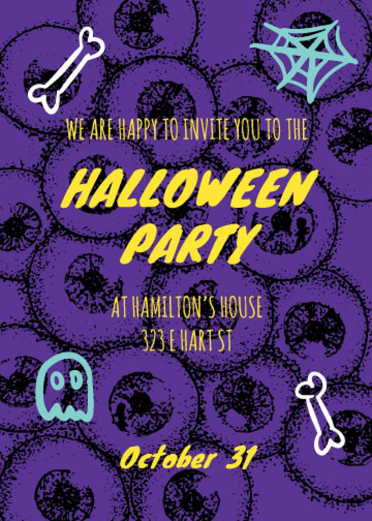 Halloween Party Scary Pattern with Eyes | Invitation Template — Створити дизайн