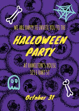 Halloween Party Scary Pattern with Eyes | Invitation Template