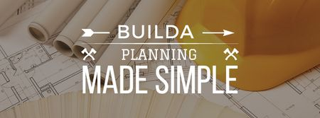 Building Tips blueprints on table Facebook cover Modelo de Design
