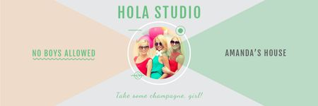 Hen party for girls in Amanda's House Email header Modelo de Design