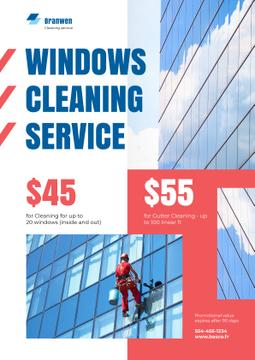 Widow Cleaning Service Worker on Skyscraper Wall | Poster Template