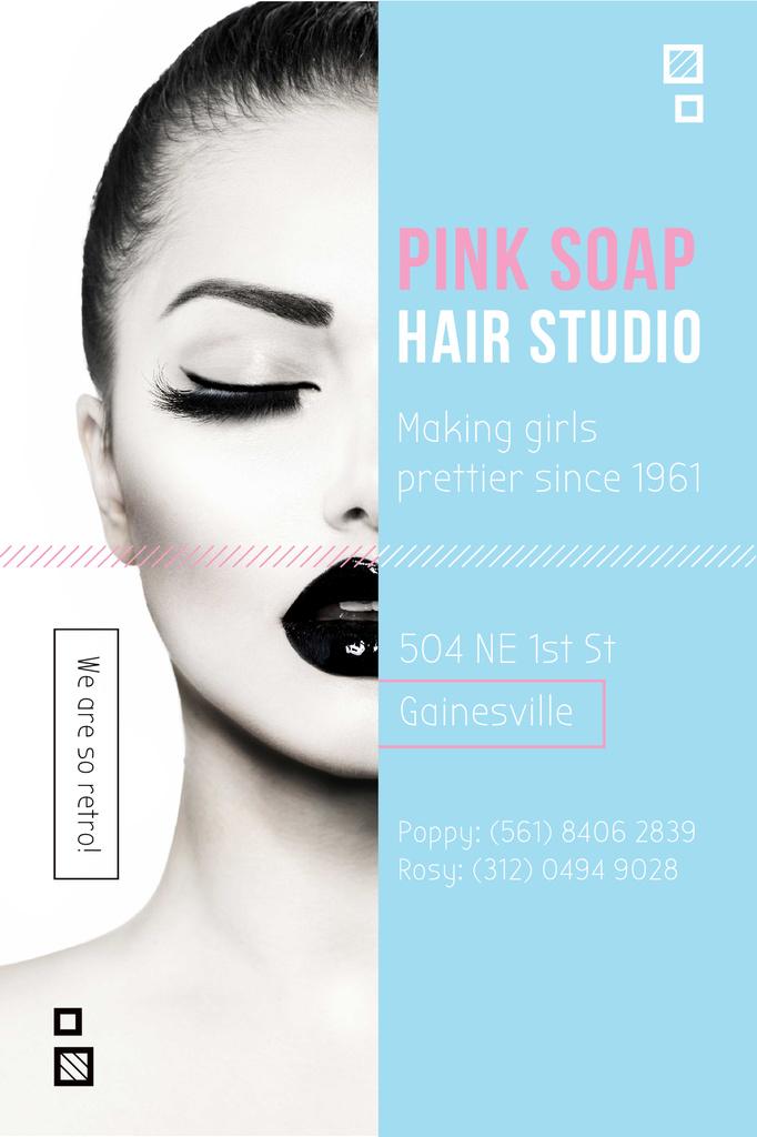 Hair Studio Ad Woman with creative makeup Tumblr Modelo de Design