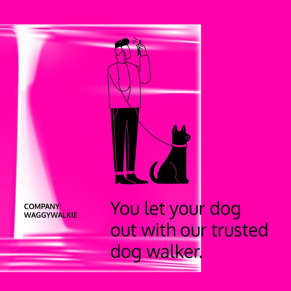 Dog Walking services with Man walking Pet — Créer un visuel