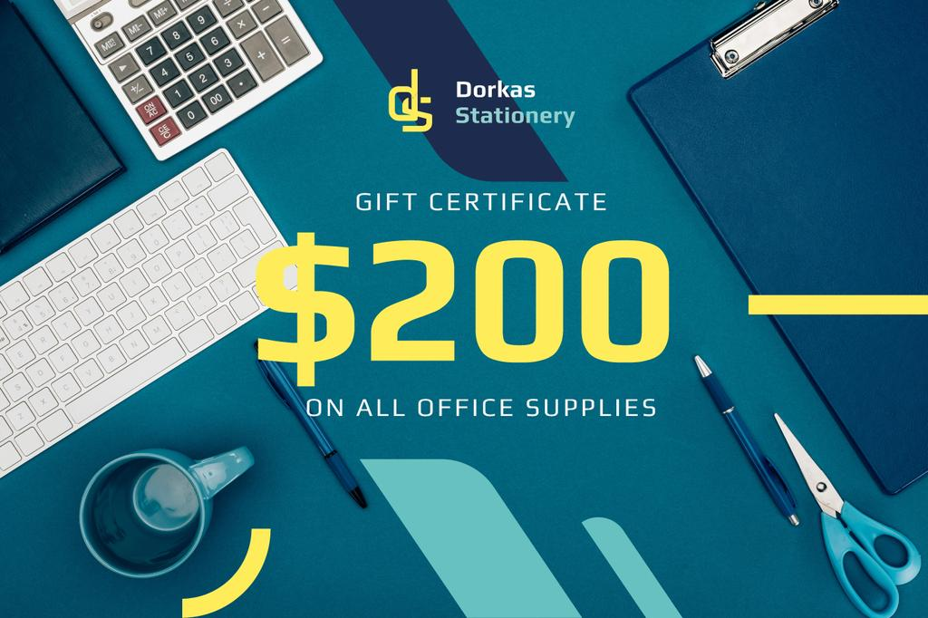 Office Supplies Ad with Stationery and Keyboard in Blue - Vytvořte návrh