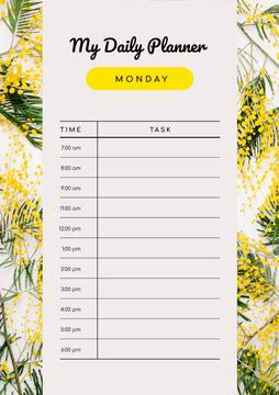 Daily Planner on Yellow Wild Flowers