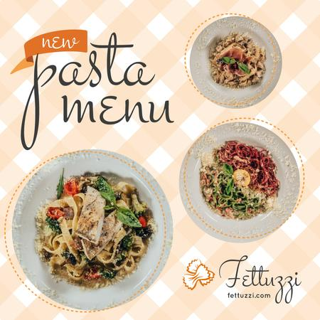 Pasta Menu Promotion Tasty Italian Dishes Instagram Modelo de Design
