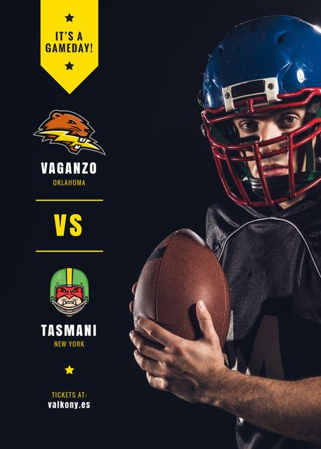 Super Bowl Match Offer Player with Ball Flayerデザインテンプレート