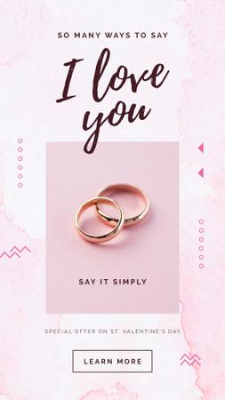 Special Valentine's Offer with Golden Wedding rings Instagram Story Modelo de Design