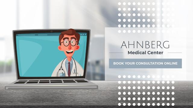 Online Consultation Doctor Speaking on Laptop Screen Full HD video Tasarım Şablonu