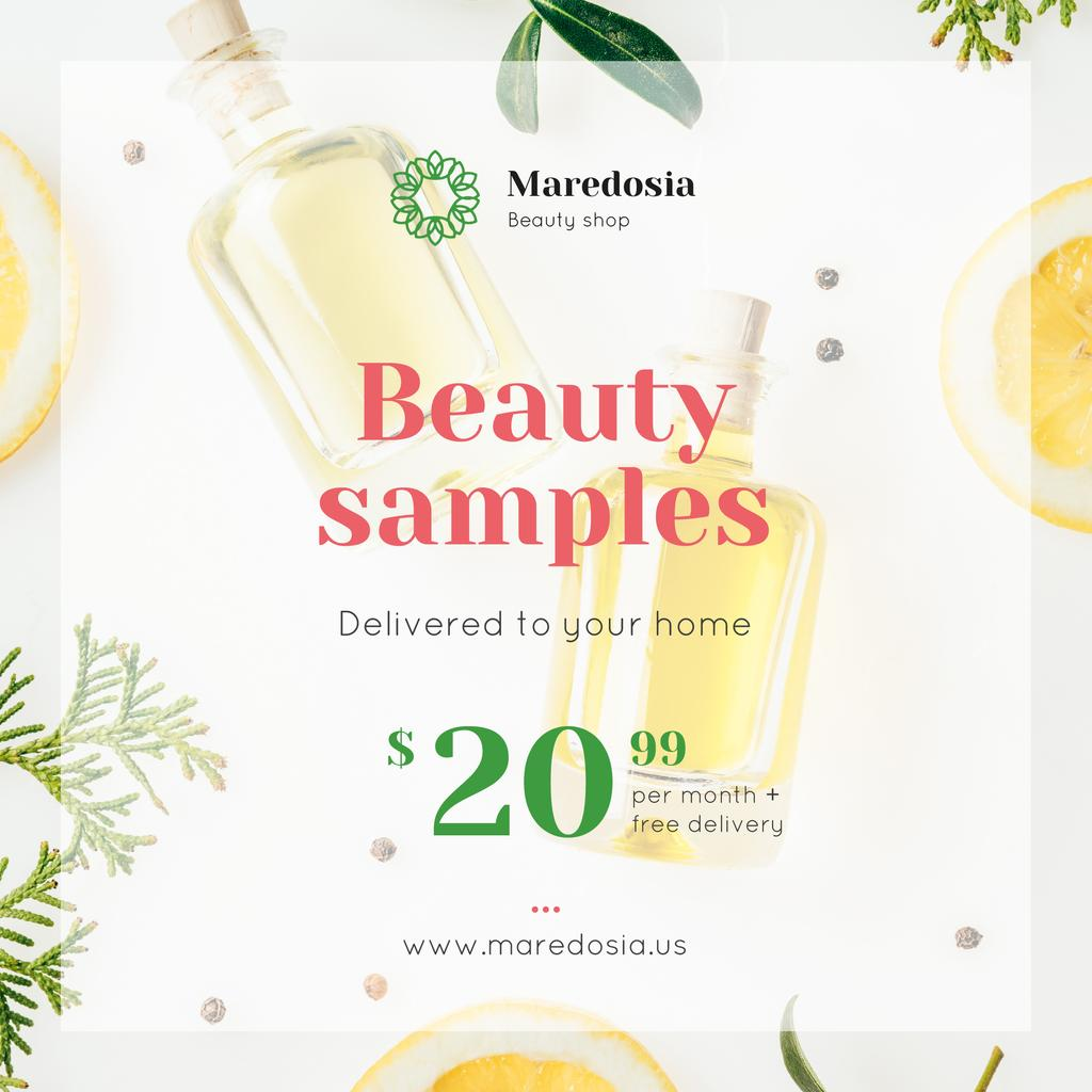 Natural Cosmetic Products Ad with Glass Bottles — Modelo de projeto