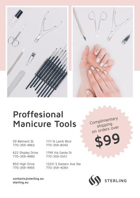 Template di design Manicure Tools Sale Hands in Pink Poster