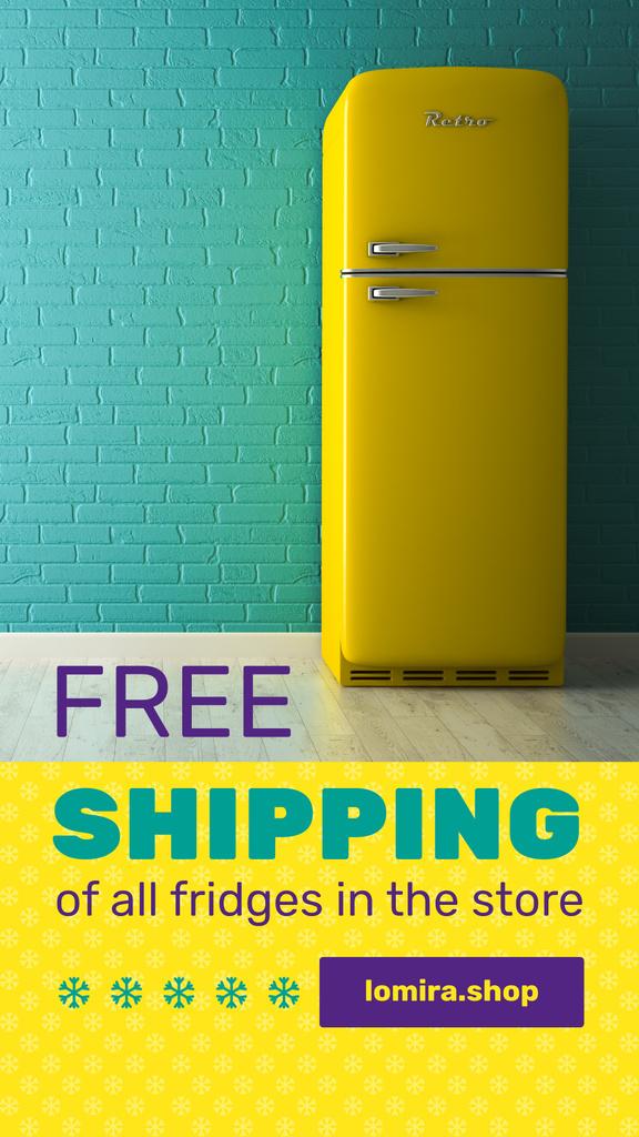 Ontwerpsjabloon van Instagram Story van Sale Offer Yellow Fridge by Blue Brick Wall